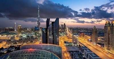 A beautiful view of the Dubai city at night