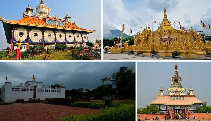 A collage of the popular places to see in Nepal in Lumbini