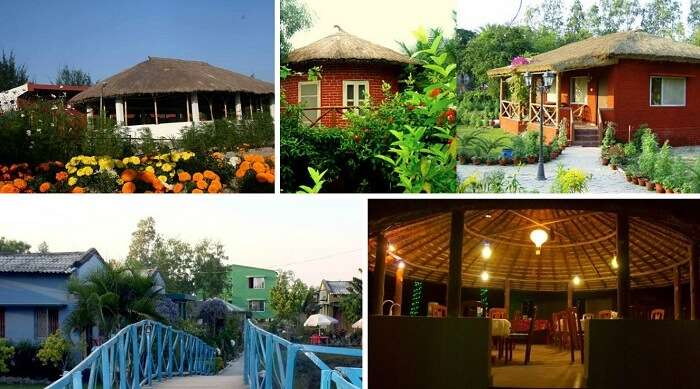 A collage of the 4 resorts in Sunderbans in West Bengal