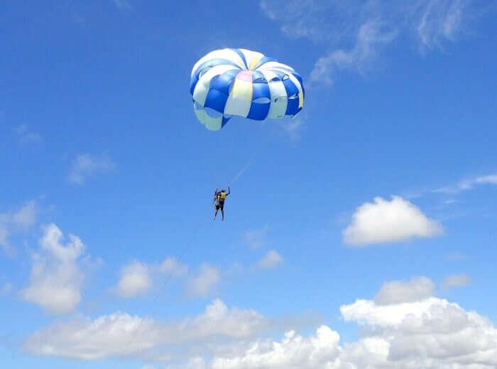 Ramandeep parasailing in Mauritius