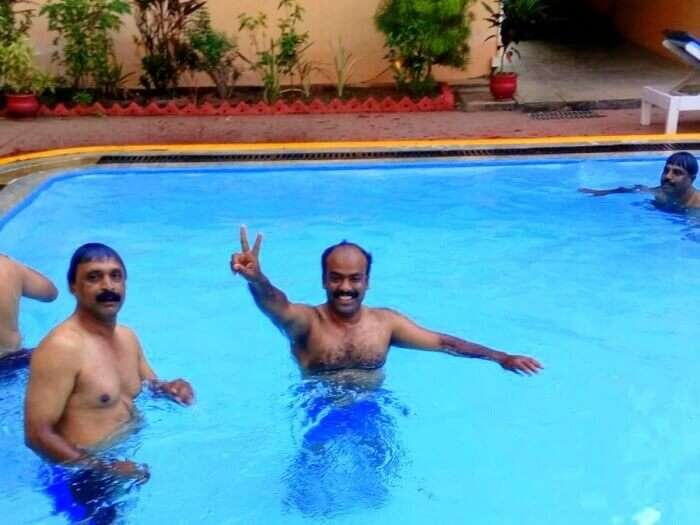 enjoying the swimming pool at the hotel