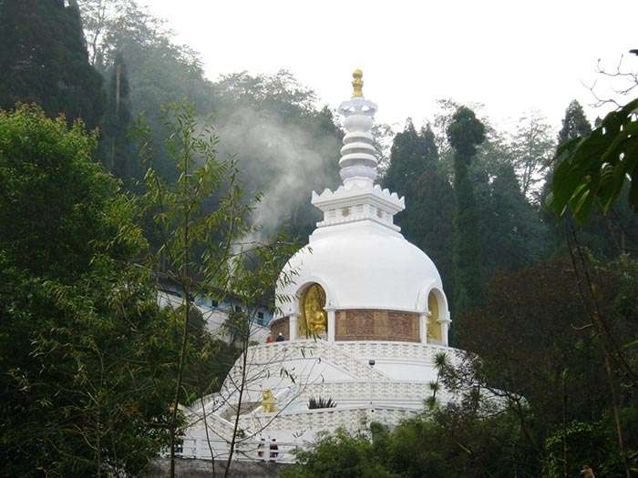 The Peace Pagoda at Charlimont Hill, one of the prominent places to see in Darjeeling