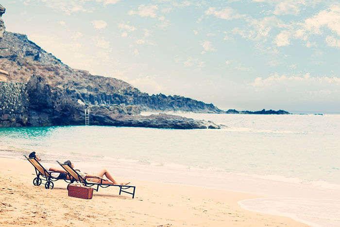 Sunbathing in beaches of India