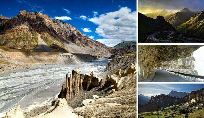A collage of the views en route and at the Spiti Valley