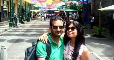 Ramandeep with his wife at Caudan Waterfront