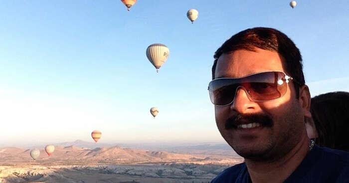 Ramaswamy taking a hot air balloon ride in Turkey