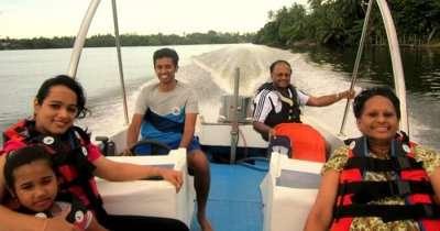 Roshan enjoying a speed boat ride in Sri Lanka