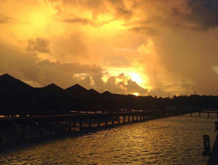 sunset at the resort