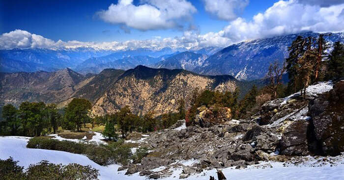 A snow-covered hill in Chopta