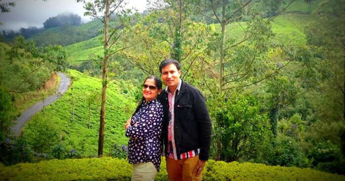 Vinit and his wife on a trip to Kerala