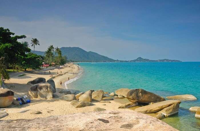 A view of the sea and the Lamai beach of Koh Samui