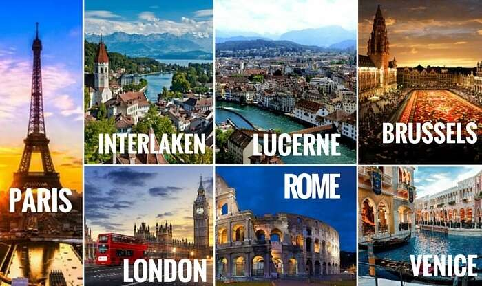 A collage of the cities covered in your Europe trip through the 5 best countries