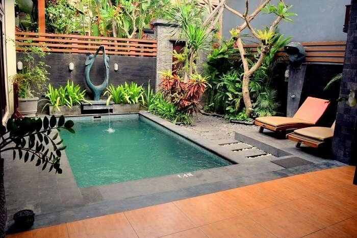 View inside a hotel room villa in Bali