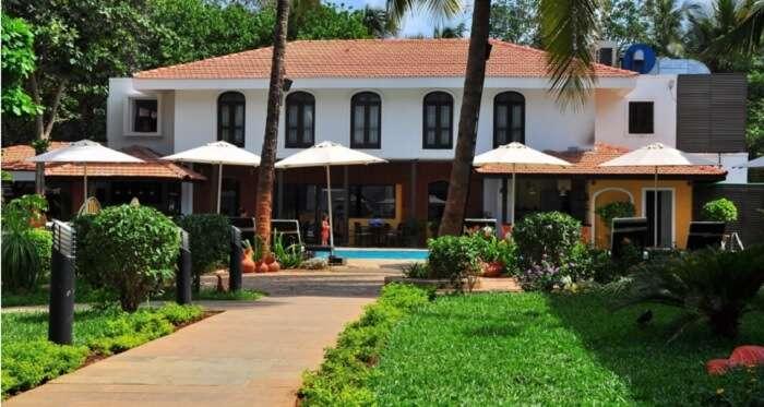 The interesting facade of Citrus Goa Hotel near Calangute beach