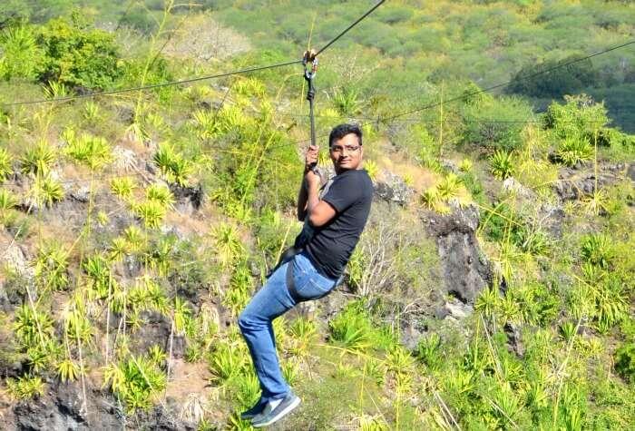 Chiranth enjoying the adventure of Zipline in Mauritius