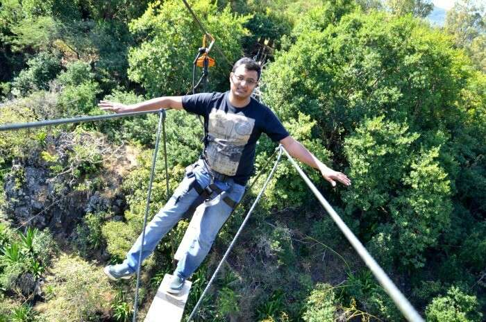 Chiranth enjoying the adventurous bridge walk in Casela Nature Park