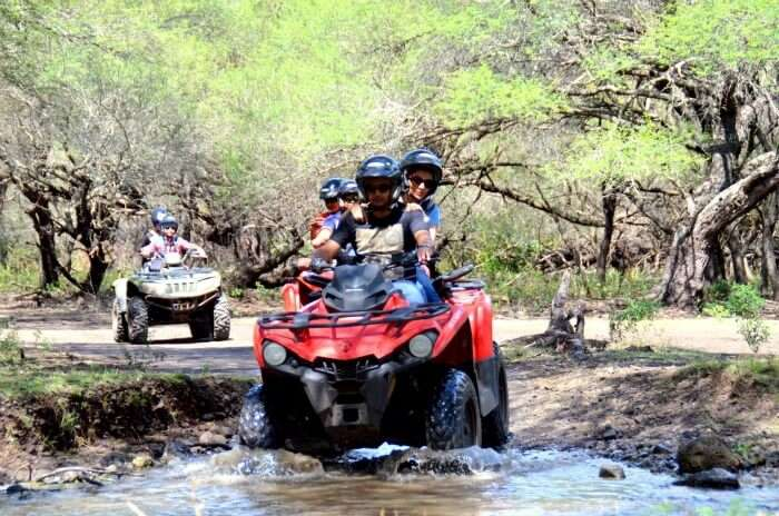 Chiranth driving the quad bike in Casela Nature Park