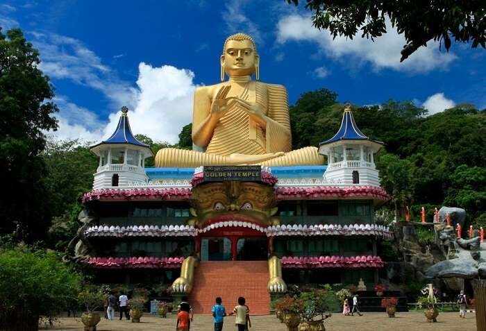 Front view of the Dambulla Cave Temple