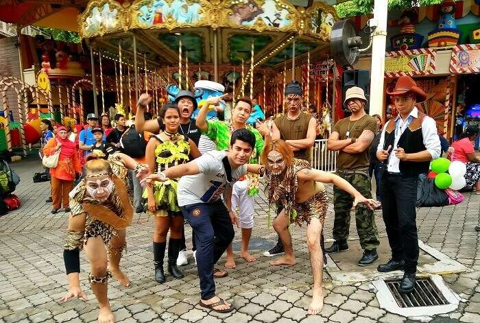 With cosplayers at the Sunway Lagoon