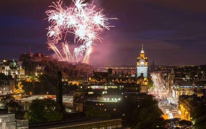 The fireworks during Hogmanay Celebrations in Edinburgh