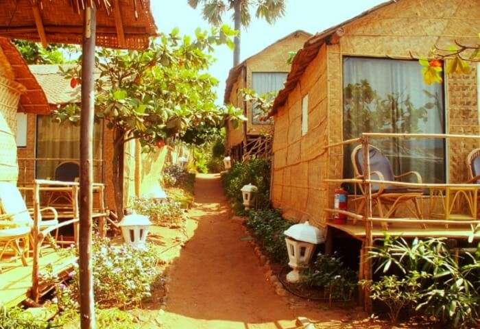 The themed swiss cottages at Estrela Do Mar Beach Resort in Goa