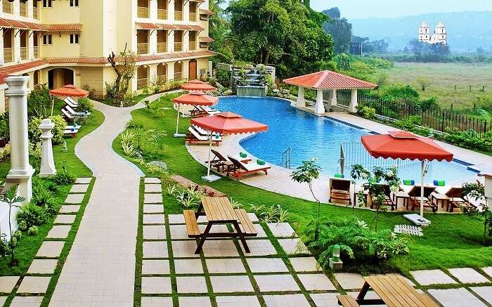 The lively terrace of Fortune Select Regina Hotel in Goa near Calangute beach