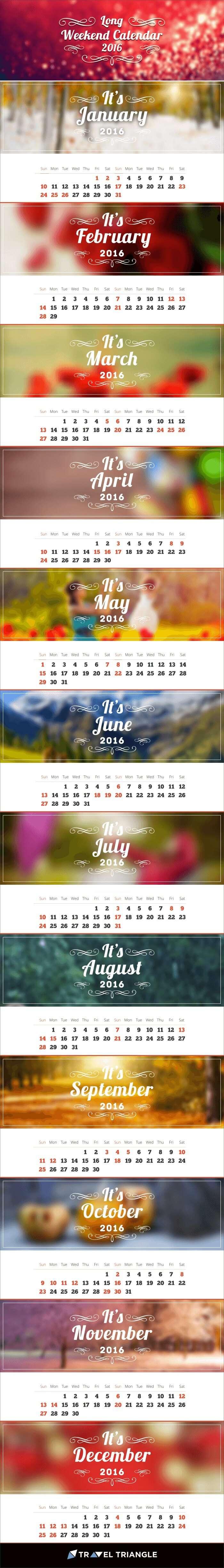List of long weekend getaways in the year 2016