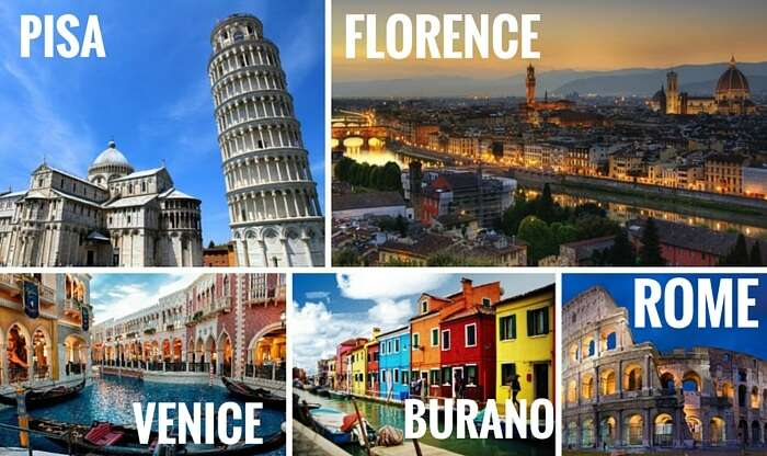 A collage of the Italian cities covered in one of the most popular Europe trips