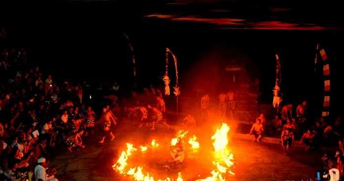 Kechak dance being performed in Bali