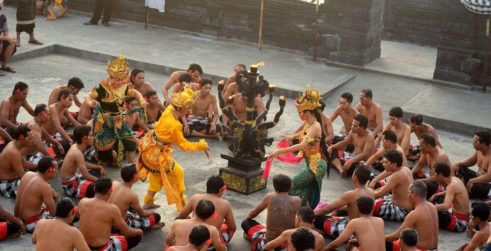 Dancers performing the Kechak dance in Bali