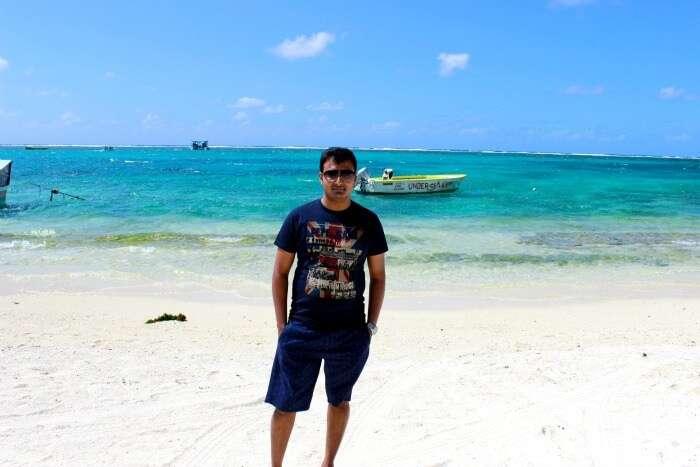 Chiranth at the beach of Mauritius