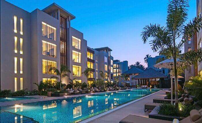 The attractive pool side view of North 16 Goa hotel near Calangute beach