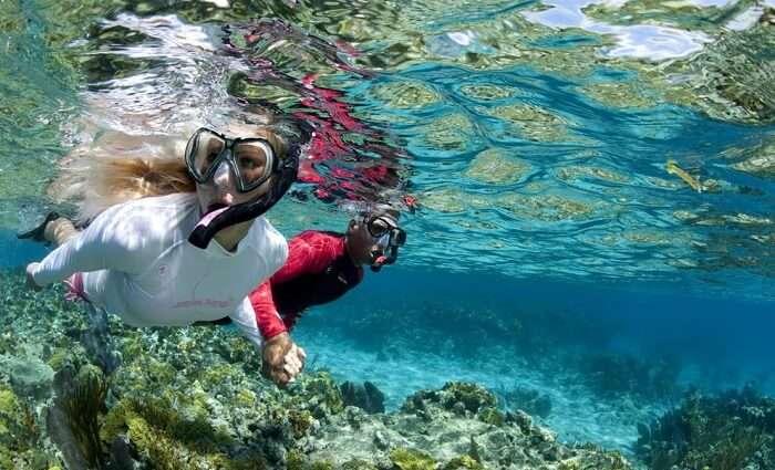 A couple enjoying snorkeling at Pigeon Island
