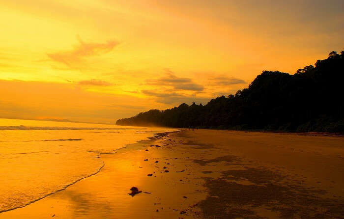 A beautiful looking Radhanagar Beach on Havelock Island during sunset