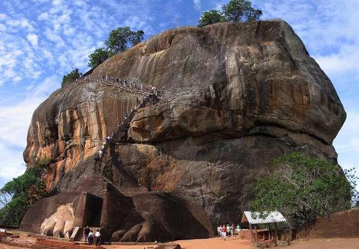 Tourists trekking up the Sigiriya Rock Fortress
