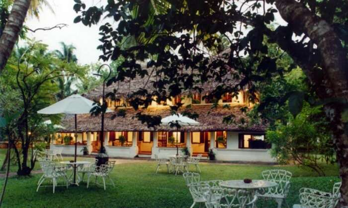 Garden views of The Gateway Hotel in Varkala - one of the best budget beach resorts in Kerala