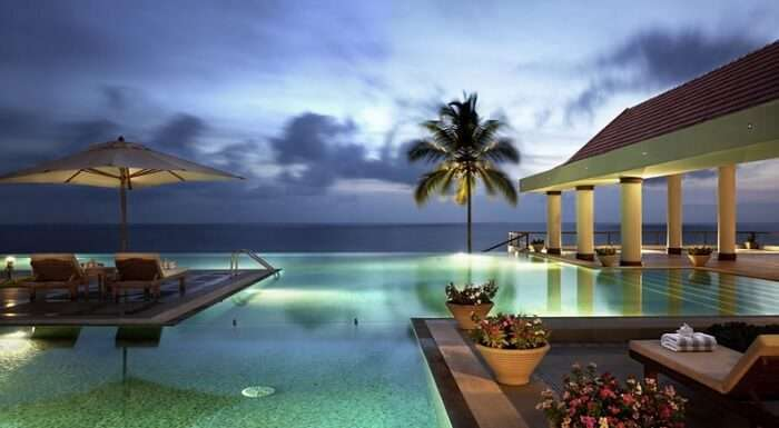 Infinity pool at the Leela Kovalam puts it among the best beach resorts in kerala