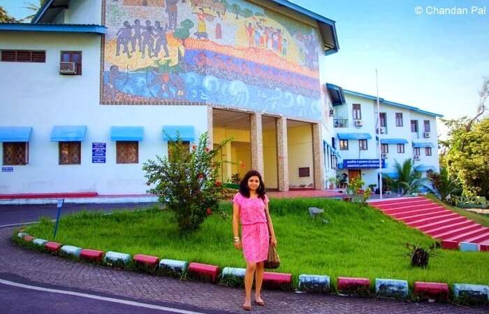 at the entry gate of Anthropological Museum Andaman