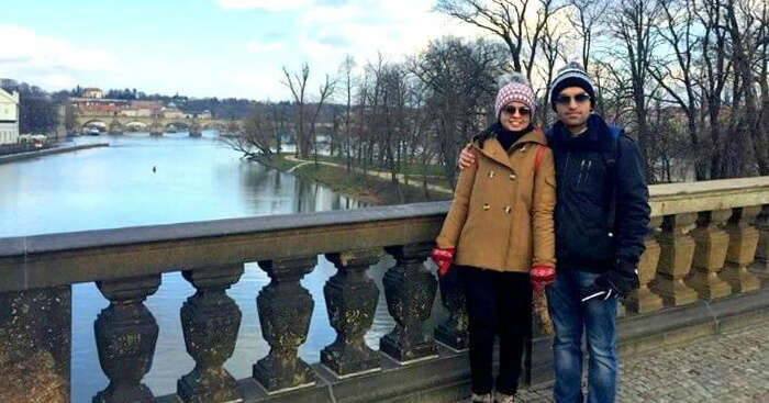 Ankush and his wife on a Europe honeymoon trip