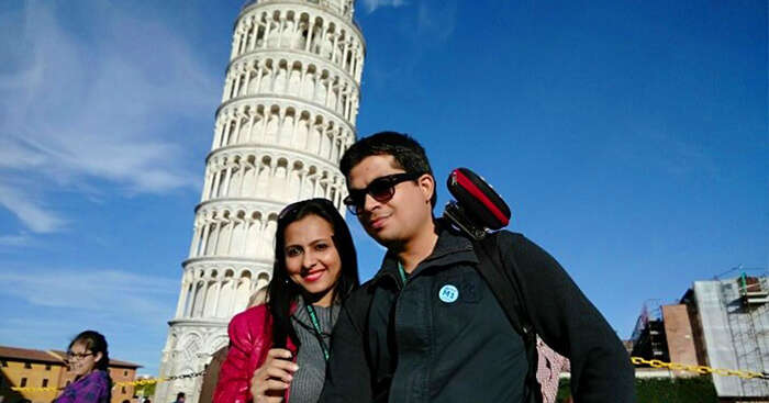 At the Leaning tower of Pisa in Italy