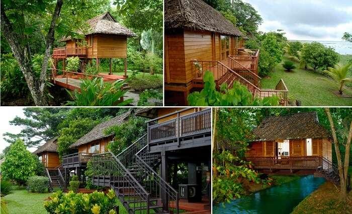 A collage of the KTDC Kumarakom resort