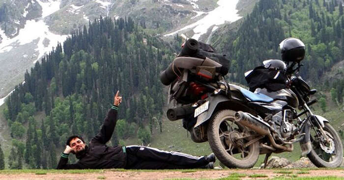 Neeraj and his bike during his road trips