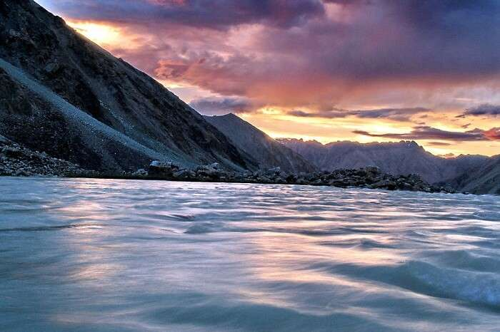 Sunset view at the Nubra Valley in Jammu and Kashmir