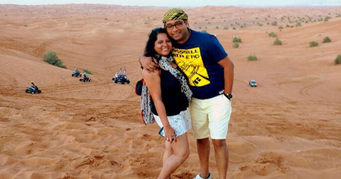Ojas and his wife during a safari in Dubai