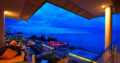 A night view of the Inter Continental Baan Beach Resort in Koh Samui