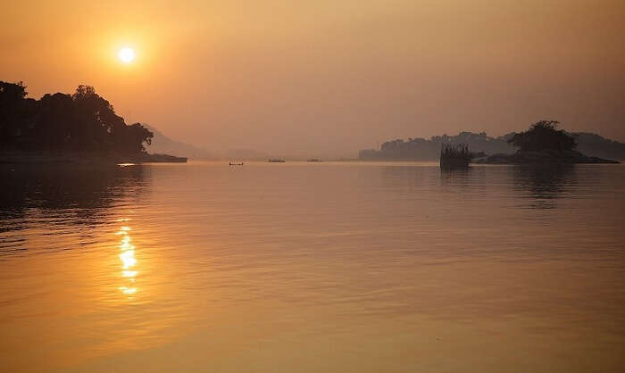 Sunset view over the Brahmaputra river in Dibrugarh district of Assam
