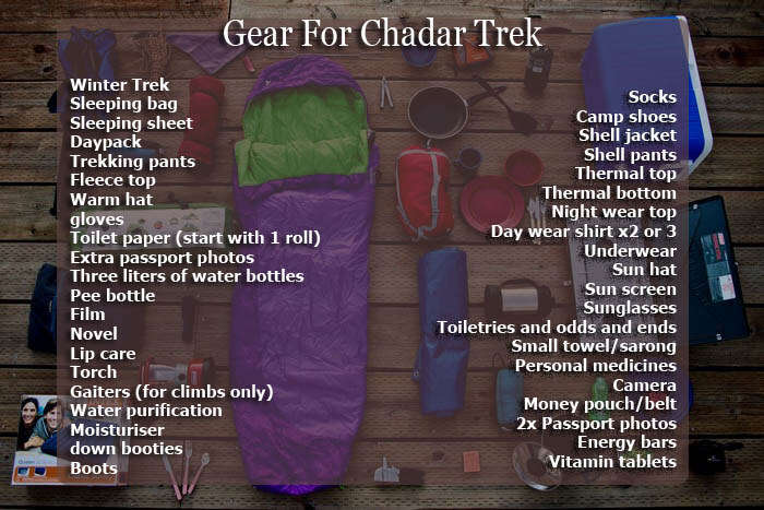All you need to carry for your Chadar trek
