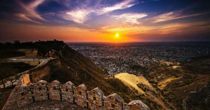 A beautiful sunset view from Nahargarh Fort in Jaipur