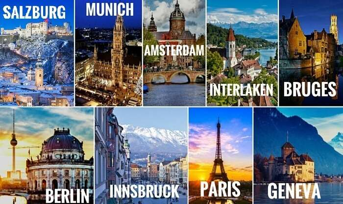 A collage of the cities covered in your Euro trip through the best of West Europe