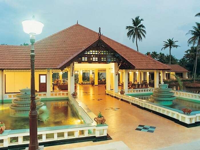 An evening view of the Whispering Palms Kumarakom Resort